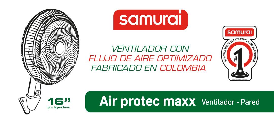 Ventilador Samurai de Pared Air Protec Maxx Negro
