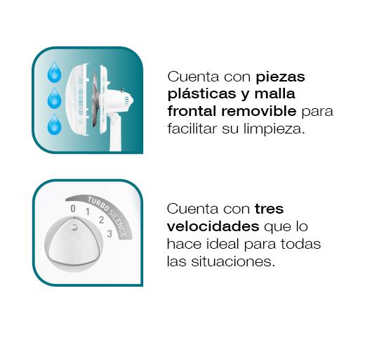 Malla removible para mejor limpieza. 3 velocidades ideales para cada situación.