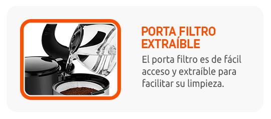 Porta filtro extraíble y facilita su limpieza.