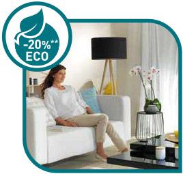 Función ECO ahorra hasta el 20% de energía y disfrutas de sesiones largas de frescura