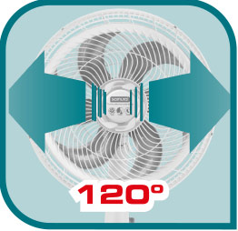 Oscilación horizontal de 120° para una mejor distribución de aire